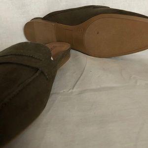 Green open backs flat shoes